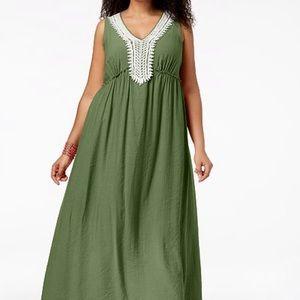 NY Collection crochet trim crinkle maxi dress 1X